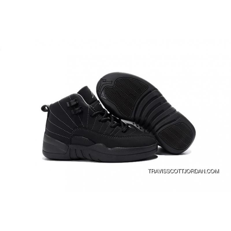 competitive price ead70 d1c2e 2016 Nike Air Jordan 12 Xii Kids Basketball Shoes All Black Anti Leather Child  Sneakers Outlet ...