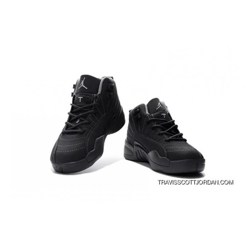 separation shoes 65d78 997df ... 2016 Nike Air Jordan 12 Xii Kids Basketball Shoes All Black Anti  Leather Child Sneakers Outlet ...