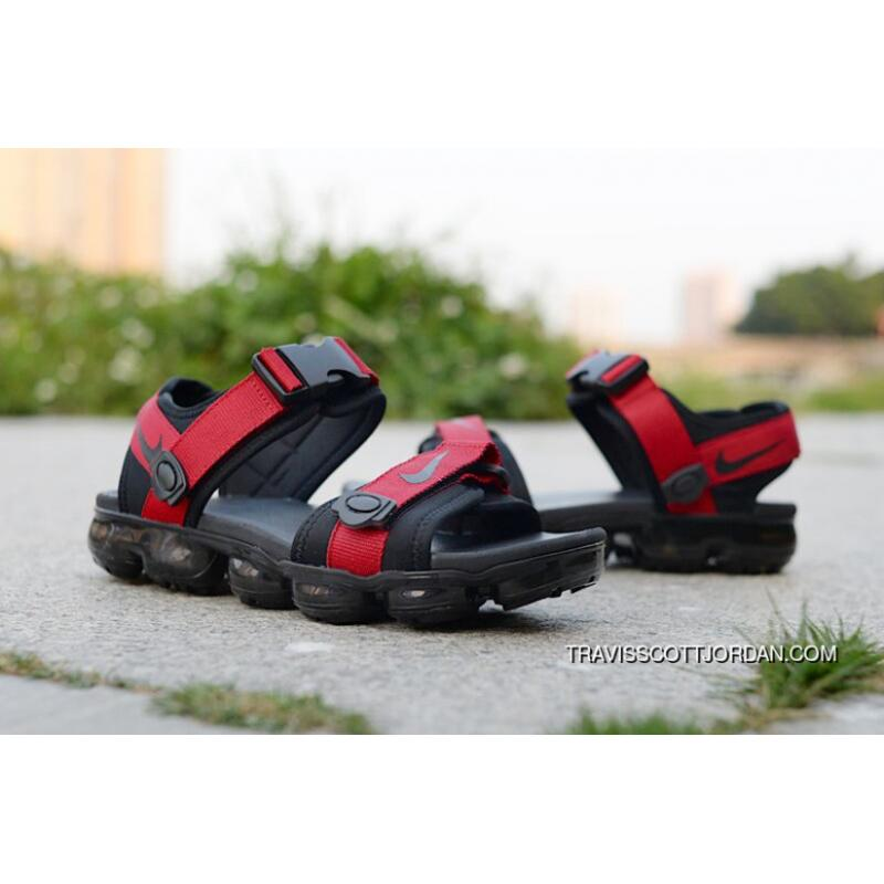 a86cbed3568a4 ... 2018 NIKE AIR Vapormax Sandal Red Black Sole New Release ...