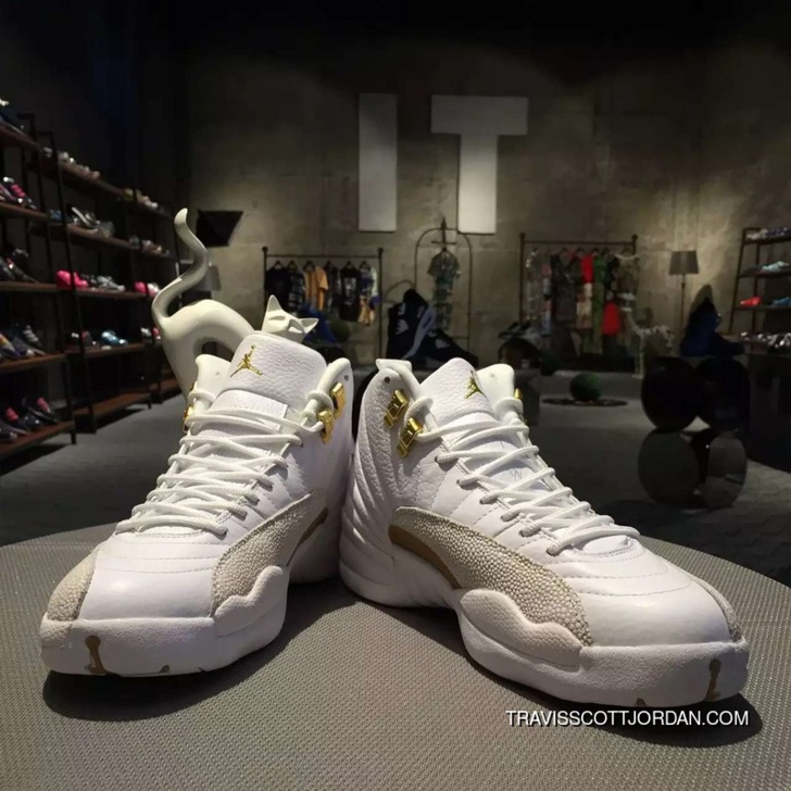 new arrival e75f9 64216 Womens Jordan Retro 12 Ovo Drakes Basketball Shoes White And Gold New Style
