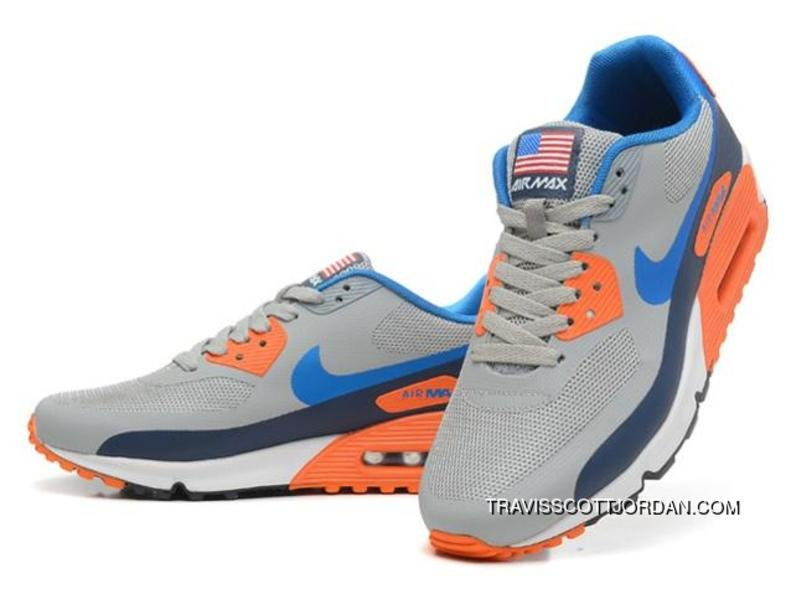timeless design 0b856 5bea6 Nike Air Max 90 Hyperfuse Qs Mens Shoes Grey Blue Orange Discount